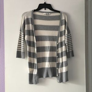 Gray white stripe cardigan